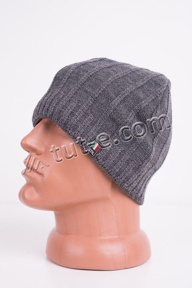 Вязаная серая шапка Stil