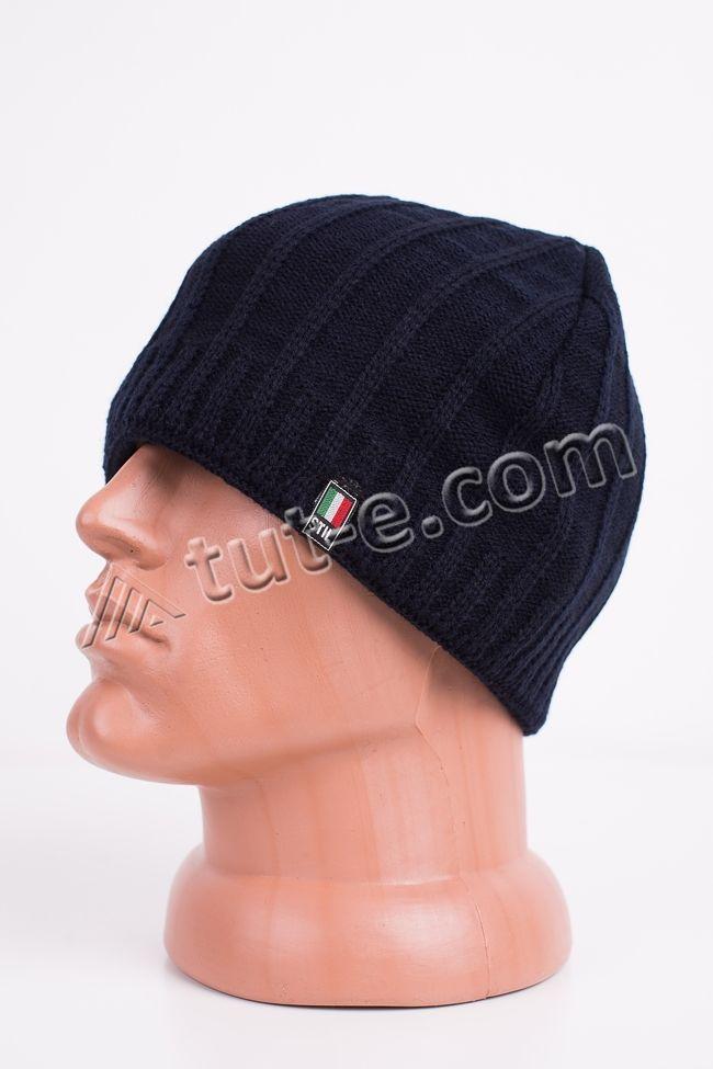 Вязаная темно-синяя шапка Stil